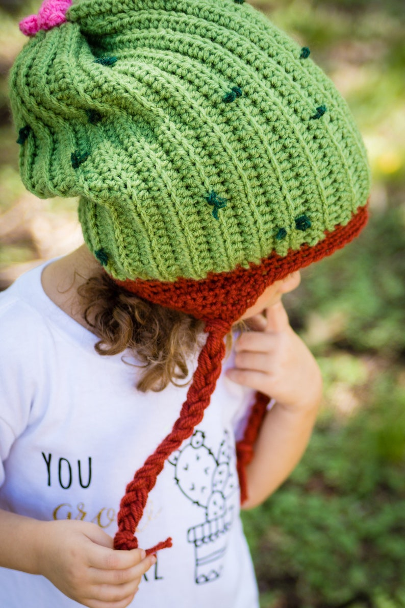 Cactus Slouch Hat  Children's Crochet Winter Hat  Cactus image 0