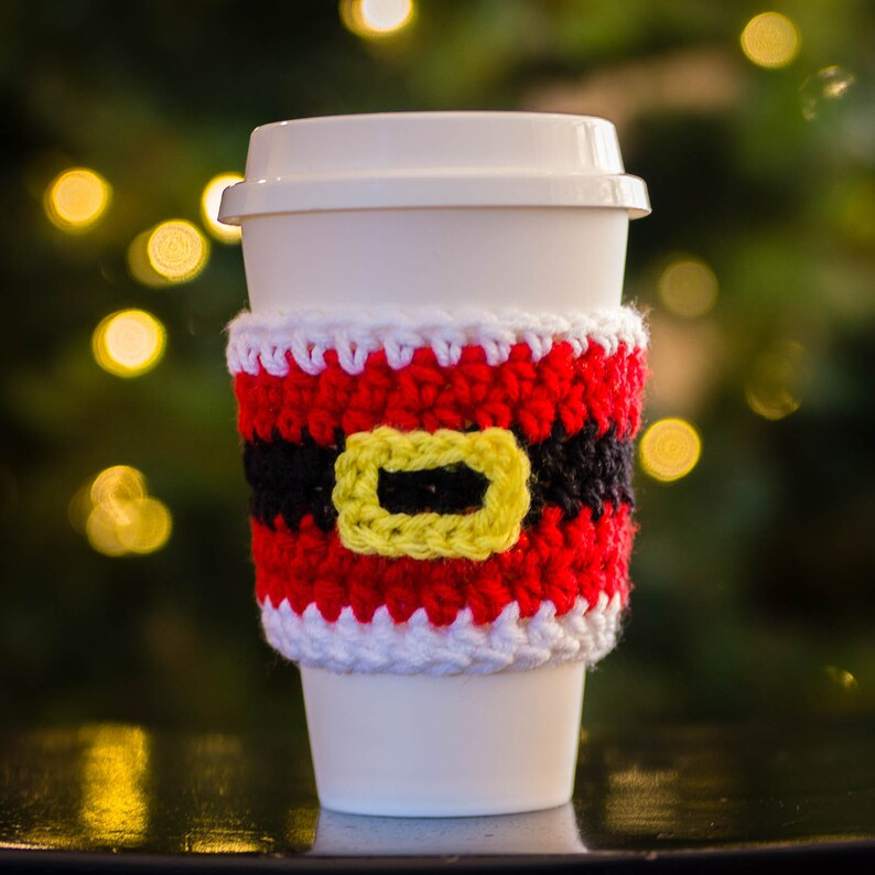 Santa Cup Cozy  Coffee Lover Gift   Coffee Travel Cup Sleeve image 0