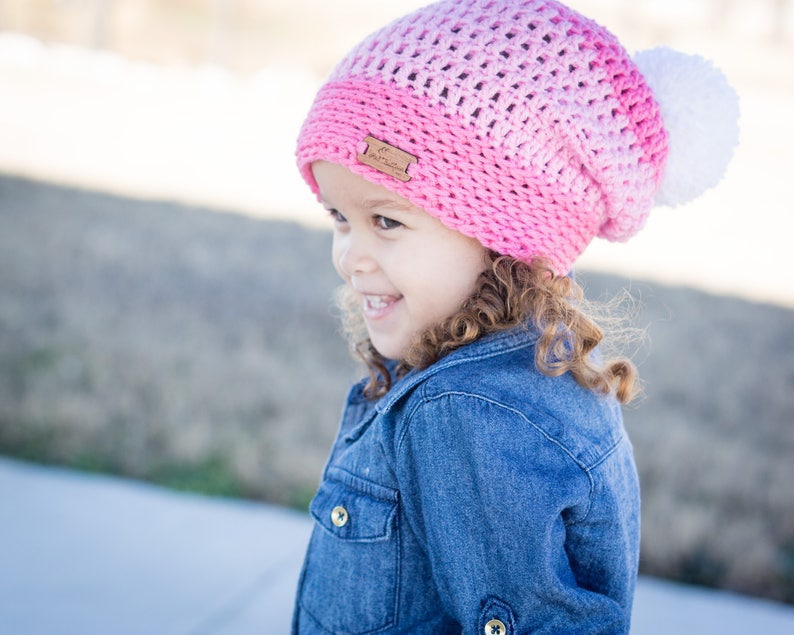 Pink Slouch Pom Pom Hat  Child Winter Hat  Slouchy Hat  image 0