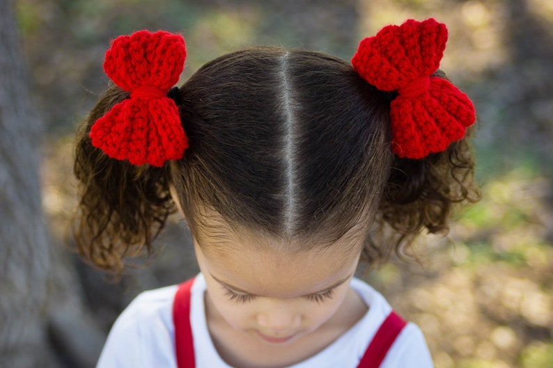 Red Pig Tail Bows  Valentine's Day Pig Tail Bows  image 0
