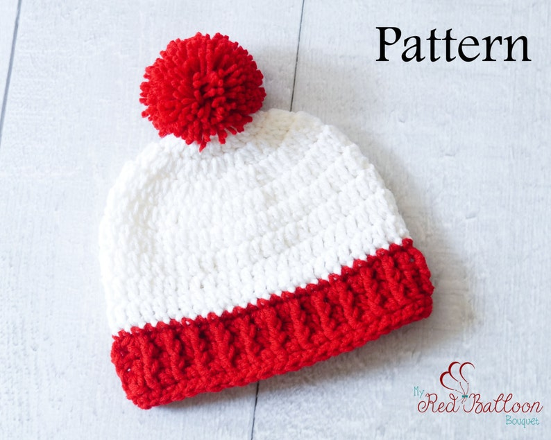 Pom Pom Beanie Crochet Pattern  Newborn Baby Toddler image 0