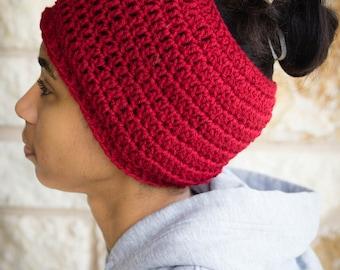 Messy Bun Hat CROCHET PATTERN - Pattern for Crochet Ponytail Hat - Adult Messy Bun Crochet Pattern - Running Hat Pattern - Crochet Ponytail