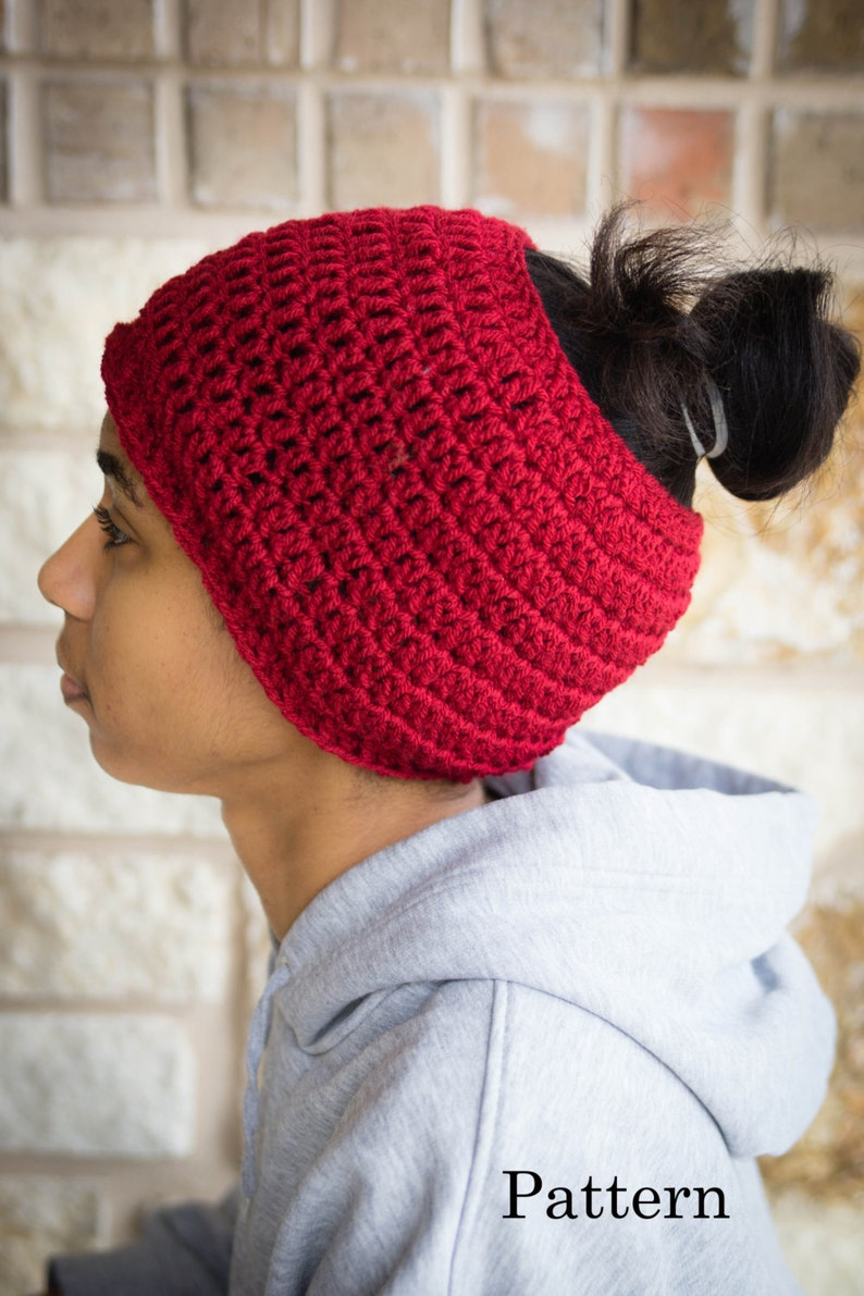 Messy Bun Hat CROCHET PATTERN  Pattern for Crochet Ponytail image 0