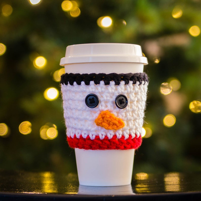 Snowman Cup Cozy  Snowman Travel Sleeve  Coffee Lover Gift image 0