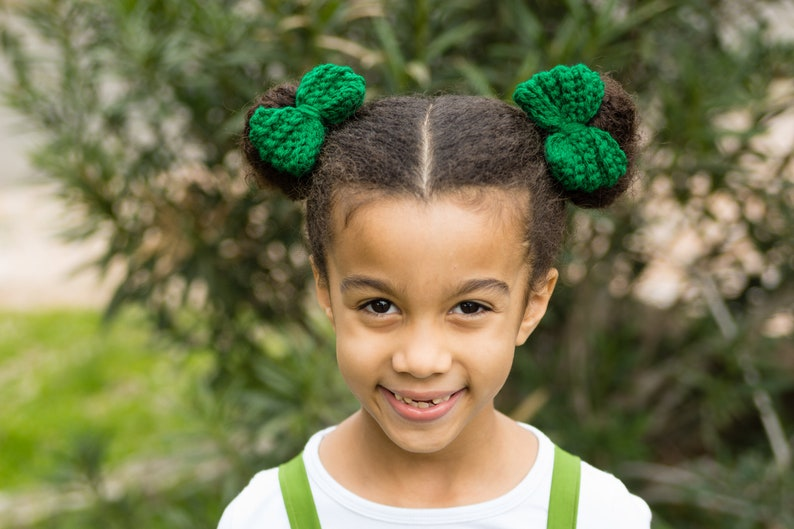 Kelly Green Pig Tail Bows  St Patrick's Day Bows  St image 0
