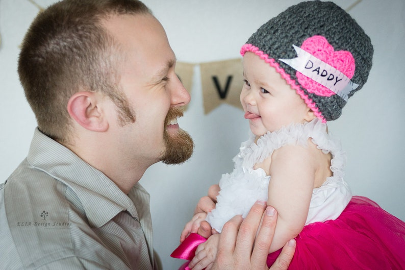 Pink Tattoo Heart Hat for Valentine's Day with Daddy  image 0