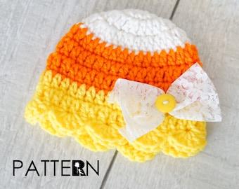 Girl Candy Corn crochet PATTERN - Girl Candy Corn Hat - Baby Candy Corn Hat - Crochet Candy Corn Hat - Halloween Prop - DIGITAL DOWNLOAD