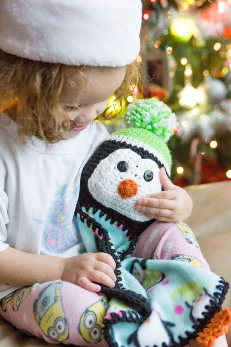 Christmas Blanket  Penguin Lovey Blanket  Baby's First image 0
