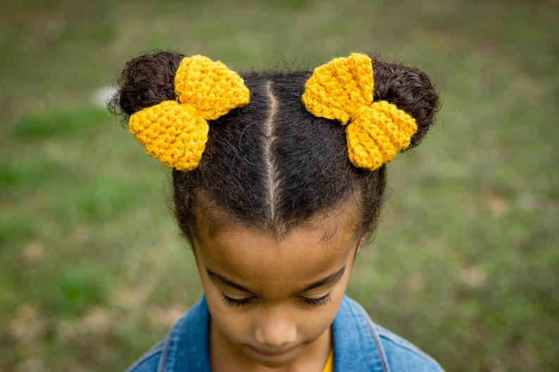 Crochet Pig Tail Bows  Ponytail Bows  Stocking Stuffer  image 0