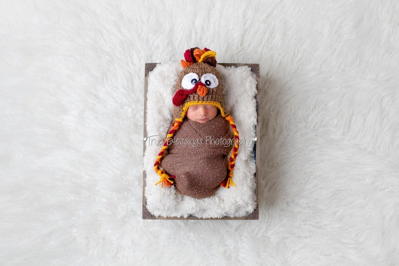 Newborn Turkey Hat  Baby's First Thanksgiving  Infant image 0