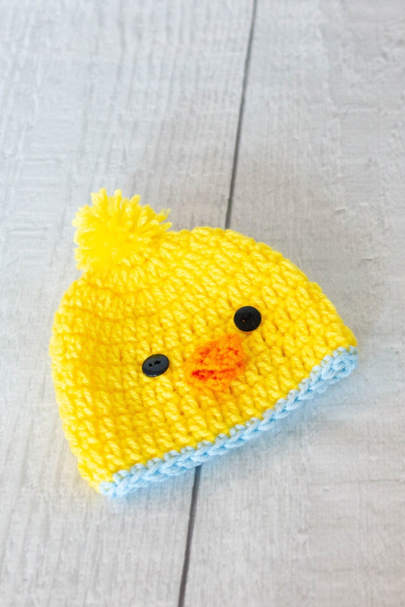 Baby Chick Hat  Farm Animal Hat  Easter Hat  Spring Photo blue trim