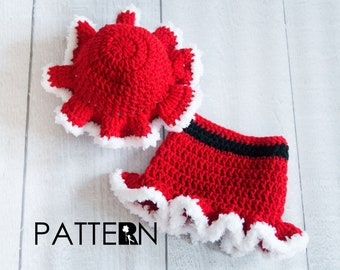 Mrs Claus Mop Cap and Skirt Crochet PATTERN - Baby Girl Christmas Outfit - Baby's First Christmas