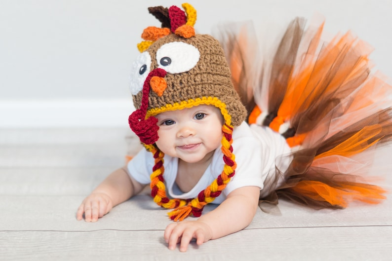 Baby Turkey Hat  Turkey Hat with Ear flaps  Child Turkey Hat image 0