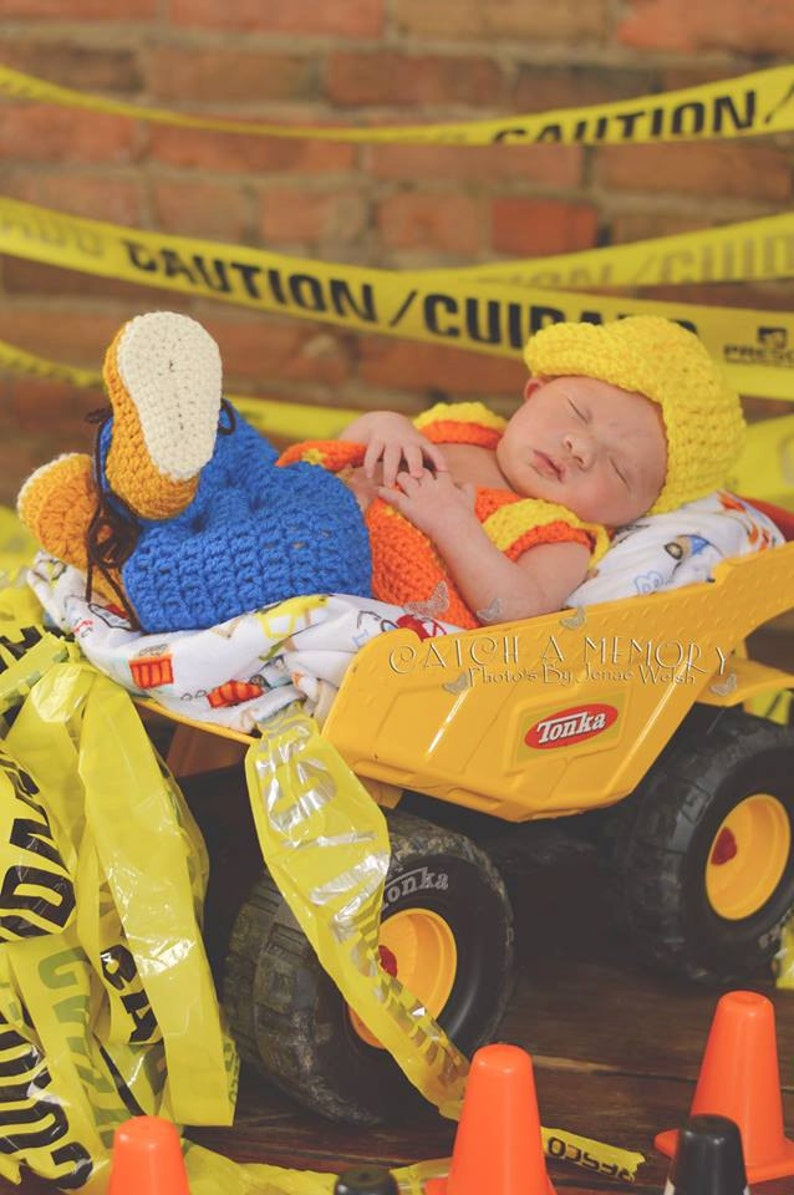 Newborn Construction Outfit with Hard Hat Orange Safety Vest image 0