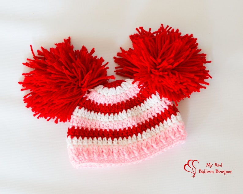 Red Pink and White striped hat with big pom image 0