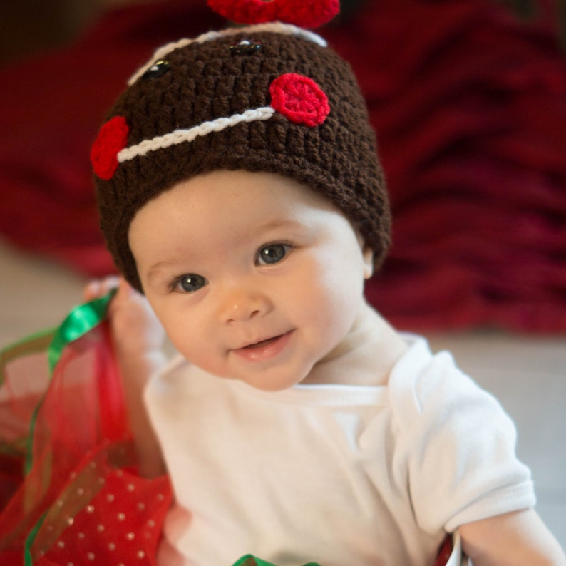 Girl Gingerbread Hat  Christmas Cookie Hat  Baby's First image 0