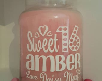 Personalised Candle Jar Sticker//Label Happy Sweet 16 Sixteen Teen Gift//Present