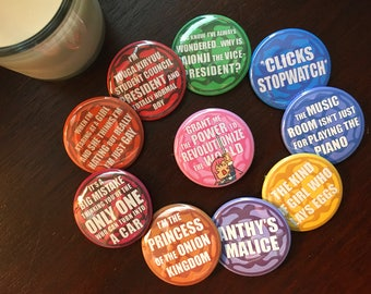 Pin Set - Revolutionary Girl Utena Shoujo Kakumei Utena Quote Meme Buttons Anthy's Malice