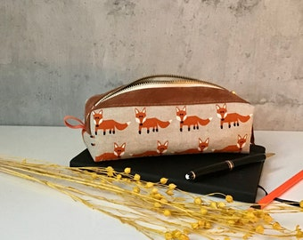 pencil case fox cotton/leather