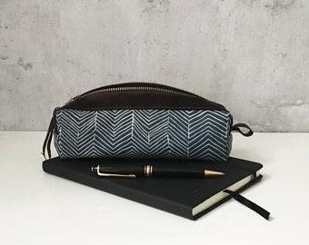pencil case with herringbone cotton/leather