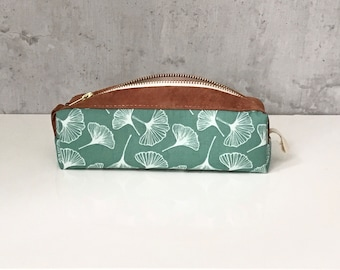pencil case with ginkgo print