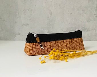 "Pencil Case ""MIKI-STAR"" honey leather/cotton"