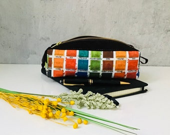 Pencil Cases with leather lined with coated cotton