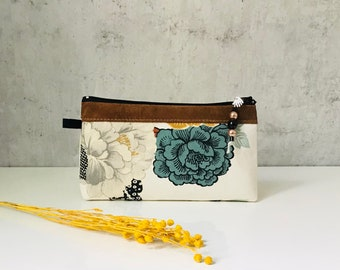 """cosmetic bag """"FLOWERS"""" cotton/leather"""