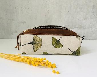 "pencil case ""GINKGO"" cotton/leather"