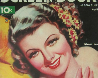 Original April 1935 Myrna Loy Screen Book Magazine Cover - Hollywood's Golden Age - Free Shipping
