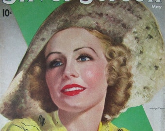 Original May 1937 Madge Evans Silver Screen Magazine Cover By Marland Stone - Hollywood's Golden Age - Free Shipping