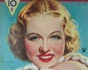 Original February 1933 Patricia Ellis Movie Classic Magazine Cover By Marland Stone - Hollywood's Golden Age