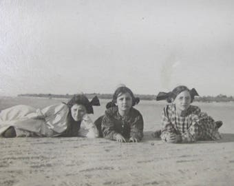 Simpler Times - Original 1910's Young Girls Laying At The Beach Snapshot Photograph