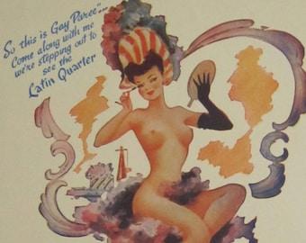 Original 1940's Latin Quarter New York Risque Pinup Program - Free Shipping