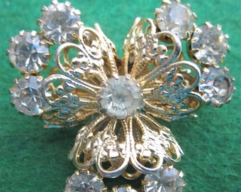 Beautiful Gold Tone Floral Brooch Pin with Rhinestones - Free Shipping