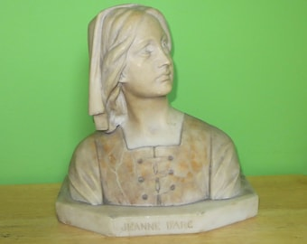 Vintage 1920's Jeanne D' Arc Marble Bust - Joan Of Arc Italian Carved Alabaster After A. Pascal - Free Shipping