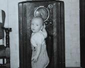 Vintage 1940 39 s Little Boy Wants Listen To The Lone Ranger Snapshot Photograph