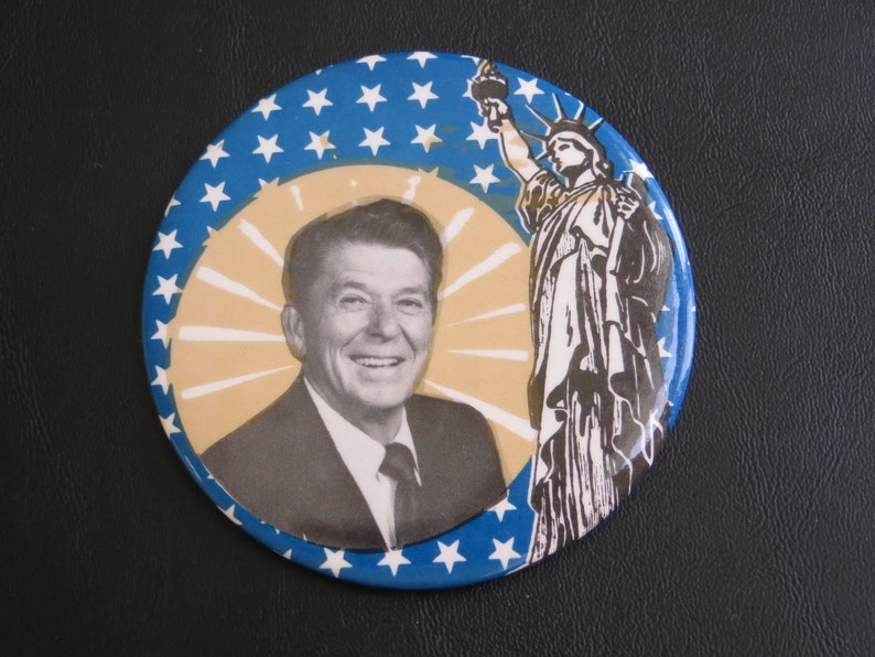 Vintage RONALD REAGAN FOR PRESIDENT Campaign Pinback Pin Button 1980 3' Historical Memorabilia