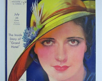 Original July 1932 Kay Francis Photoplay Magazine Cover By Earl Christy- Hollywood's Golden Age - Free Shipping