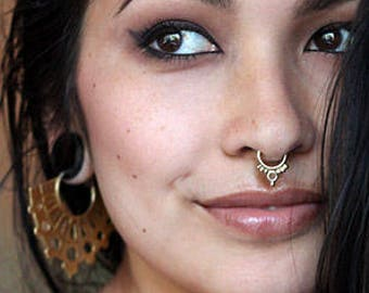 Solid Gold Septum Jewelry, Gold Septum Ring , Septum Ring, Gold Septum Jewelry, Gold Septum Ring 16g, Septum Ring 14g, Gold Septum Piercing