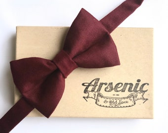 Men's Burgundy Wine Maroon Bow Tie - available as traditional self-tie or pre-tied. Also available for women, boys, toddlers or babies