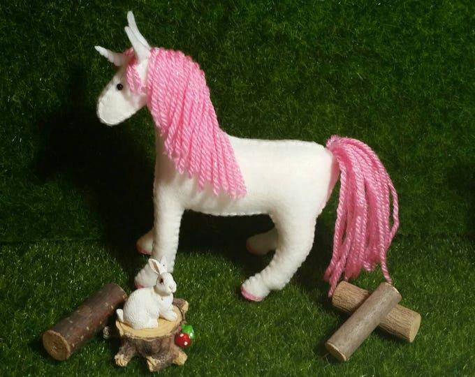 100% Wool Felt Kawaii Unicorn- Pink Sparkle