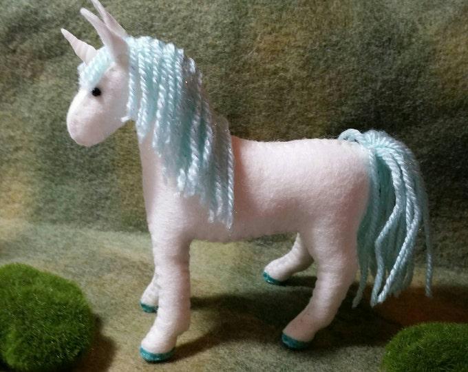 100% Wool Felt Kawaii Unicorn-light Blue/Aqua Sparkle