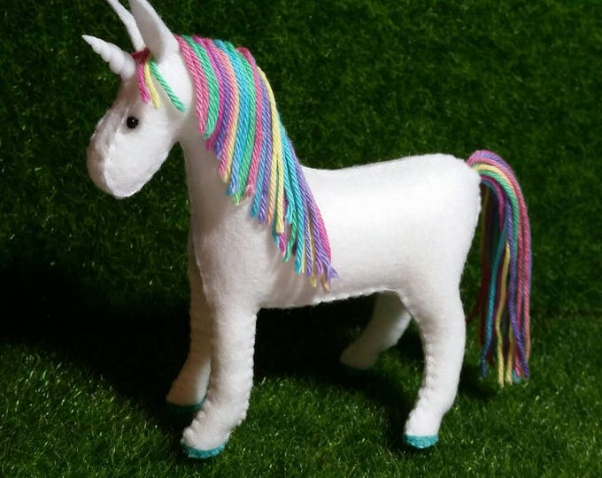 100% Wool Felt Kawaii Unicorn- Rainbow