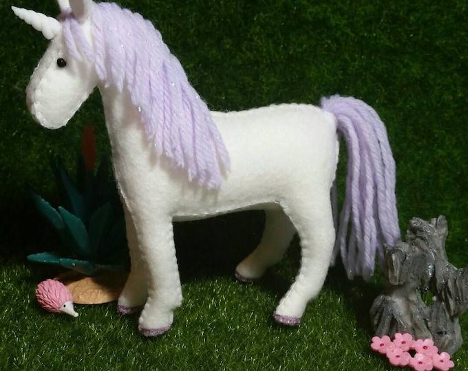 100% Wool Felt Kawaii Unicorn- Light Purple Sparkle