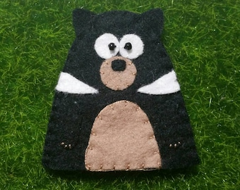 Wool Felt Tasmanian Devil Finger Puppet