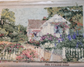 Vintage House and Garden Crewel Needlepoint Portrait
