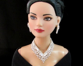 """Doll jewelry for Tonner American Model, BJD,  and other 22"""" fashion dolls,  by SohoDolls, necklace and earrings"""