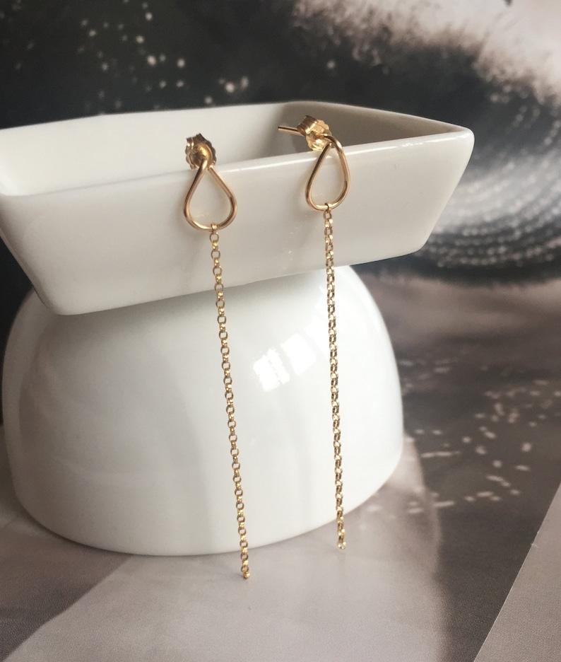 a60fa9699a3d Oro de 14 k oro llena de hilo zarcillos collar aretes largos