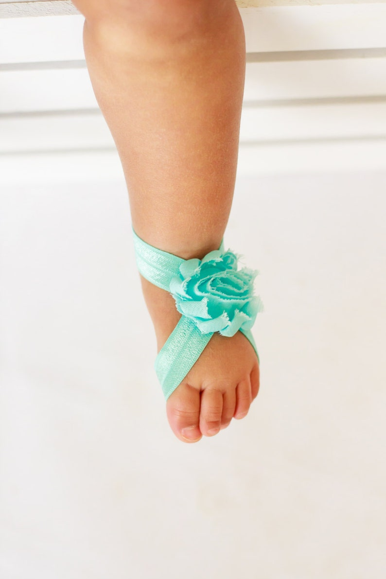 ba6eb73a0bcf1 Barefoot Sandals - Solid Aqua - Newborn Infant Baby Toddler Girl Sock  Tights Shoes Shoe Cover Easter Spring Summer Pastel